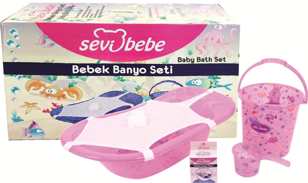 Sevi Bebe Şeffaf Desenli Bebek Banyo Setı (5 Parça) Şeffaf Pembe