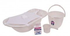 Sevi Bebe Sedefli Bebek Banyo Seti (5 Parça)  Beyaz