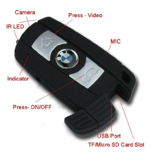 Gece Görüşlü Hareket Sensörlü Full Hd Bmw Anahtarlık Kamera