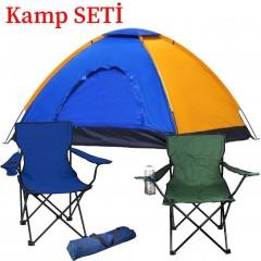 6 Kişilik Kamp Çadırı - 2 Adet Kamp Sandalyesi