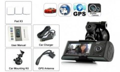 Çift Lensli Dvr Çift Yönlü Araç İçi Kamera ve Gps Kayıt