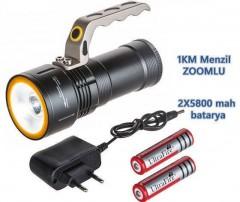 El Feneri Şarjlı Çift Batarya 1km Menzil Zoomlu