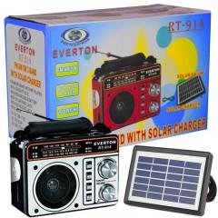 Everton RT-914 Güneş Panelli Fenerli Şarjlı USB-SD-FM Portatif Radyo