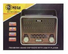 Mega MG-1967U Antika Şarjlı Usb Kart Girişli Radyo