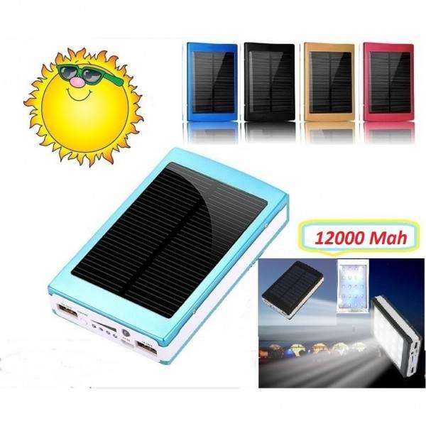 Solar Güneş Enerjili 12000 mAh Powerbank 20 Ledli
