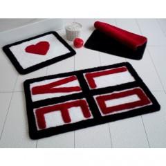 Alessia Home Love Kırmızı 3'lü Banyo Takımı Seti