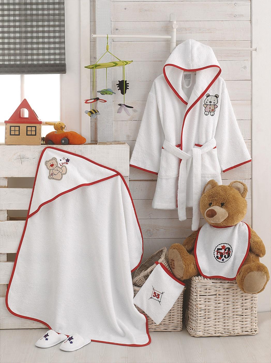 Z&R HOME Bambu 3-4 Yaş Çocuk Bornoz Ve Kunsak Seti - Bear