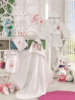 Z&R HOME Bambu 3-4 Yaş Çocuk Bornoz Ve Kundak Seti - Fairy