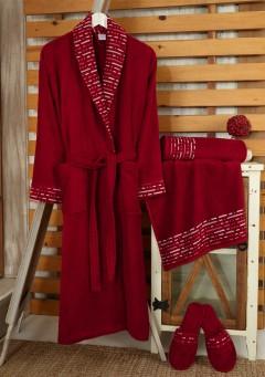 Z&R HOME Bambu Bayan Bornoz Seti - Lucca Bordo