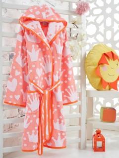 Z&R HOME Bambu 11-12 Yaş Çocuk Bornoz - Prenses Orange