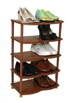 Ayakkabılık 5 Katlı Ayakkabılık Plastik Ayakkabılık 10 Çift Ayakkabı Kapasitesi Kahve VİP-29947
