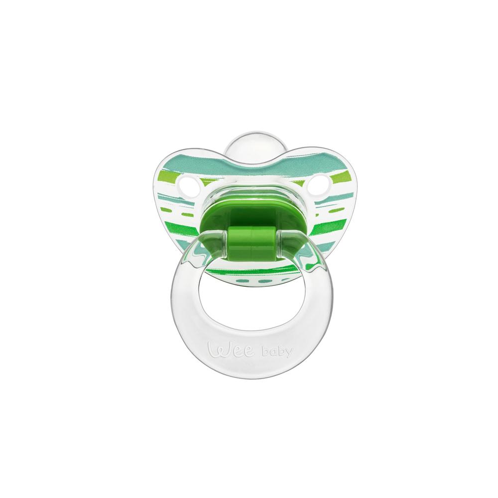Wee Baby 836 Şeffaf Desenli Damaklı Emzik 0-6Ay - Yeşil
