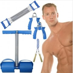 4 Parça Vücut Geliştirme Spor Seti Kürek Göğüs El Yayı İp Atlama