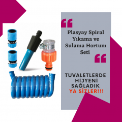 Plasyay Spiral Sulama Hortumu Ve Ayarlı Lans Seti Mavi 1.5 Metre
