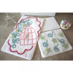 Alessia Home Kafes Beyaz 3'lü Banyo Takımı Seti