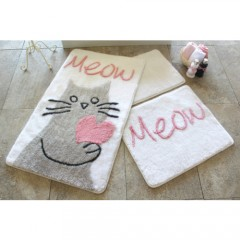 Alessia Home Kedicik Beyaz 3'lü Banyo Takımı Seti