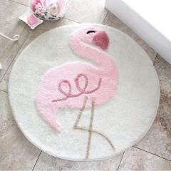 Alessia Home Pink Flamıngo Yuvarlak Banyo Paspası