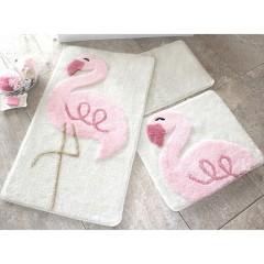Alessia Pink Flamingo 3 lü Set Banyo Halısı