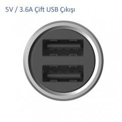 Xiaomi Araç Şarj Cihazı Gri Metal Tasarım 2 USB (3.6 A Hızlı Şarj)-2