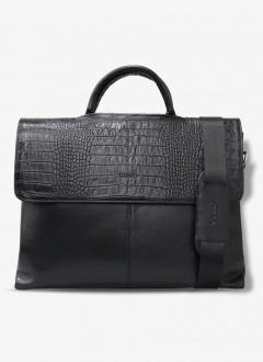 Guard Deri Evrak ve Laptop Çantası / 1803 - Siyah Timsah Baskılı