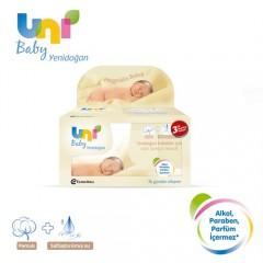Uni Baby Yenidoğan Islak Pamuk Mendil 3'lü Fırsat Paketi / 120 Yaprak-0