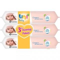 Uni Baby Cream Islak Havlu 3+1 Fırsat Paketi / 224 Yaprak