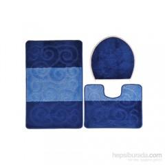 Confetti Şile Üçlü Set Mavi Banyo Halısı-0