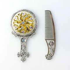 İşlemeli Ayna ve Tarak Seti Gümüş Renk