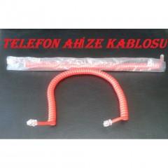 Telefon Ahize Spiral Kordon Kablo 8Ft Kırmızı