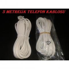 5 Metre 2 Ucu Plug RJ11 Telefon Köken Kablo